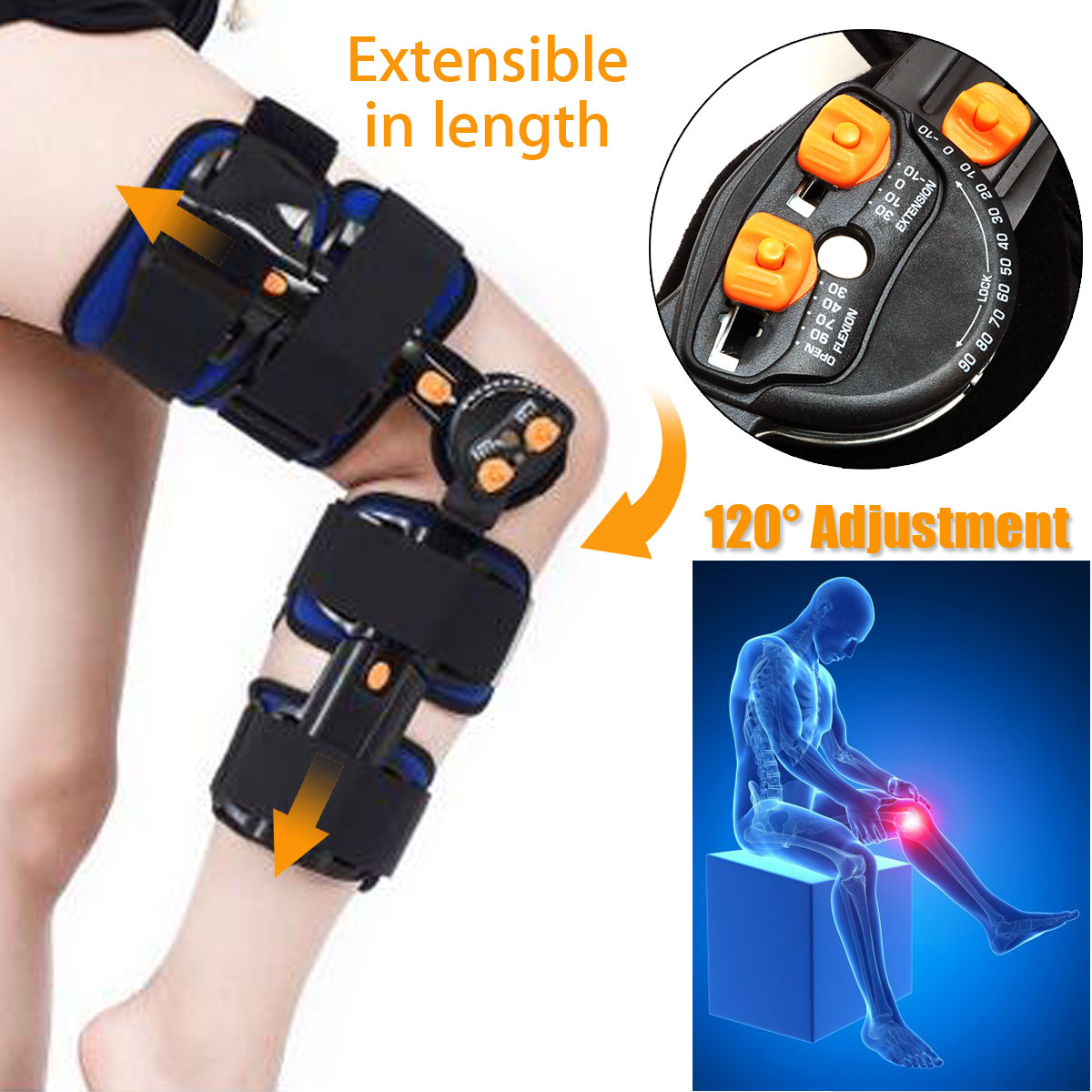 KIFIT Professional T-Scope ROM Post Op Knee Brace Adjustable Hinged Leg Universal Size Braces & Supports kifit rom medical grade 0 120 degrees adjustable hinged knee leg brace support
