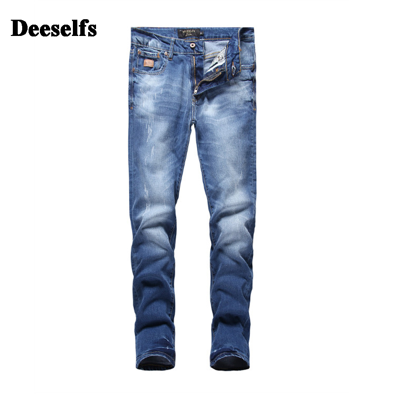 Solid Light Blue Denim Jeans Men High Quality DE Brand Clothing Casual Mid Stripe Slim Fit Men`s Distressed Jeans Uomo S7005 classic mid stripe men s buttons jeans ripped slim fit denim pants male high quality vintage brand clothing moto jeans men rl617