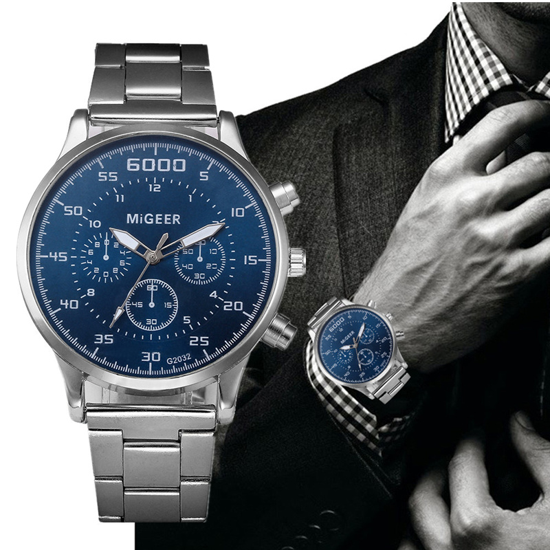 Sport Watches Stainless Steel Men's Men Wristwatch Clock  Saati