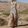 Mujeres Impreso Vintage Vestido Irregular Vestidos V-cuello de Hendidura Sexy Vestido de fiesta 2016 Del Partido de Las Señoras Vestidos Maxi Largo De Split