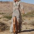 Women Vintage Printed Dress Irregular de festa 2016 Ladies Party Dresses V-Neck Sexy Slit Vestido Long Maxi Split Vestidos
