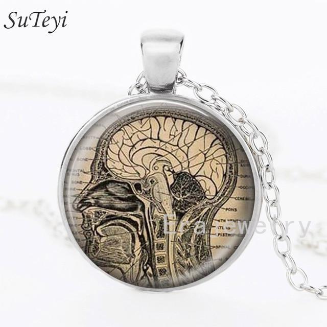 SUTEYI Gehirn Bild Halskette Menschliche Gehirn Neurologie Glas ...