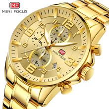 MINI FOCUS Golden Mens Watches Top Brand Luxury Business Quartz Watch Men Chronograph Auto Date Waterproof Stainless Steel Strap Analog Wristwatches все цены