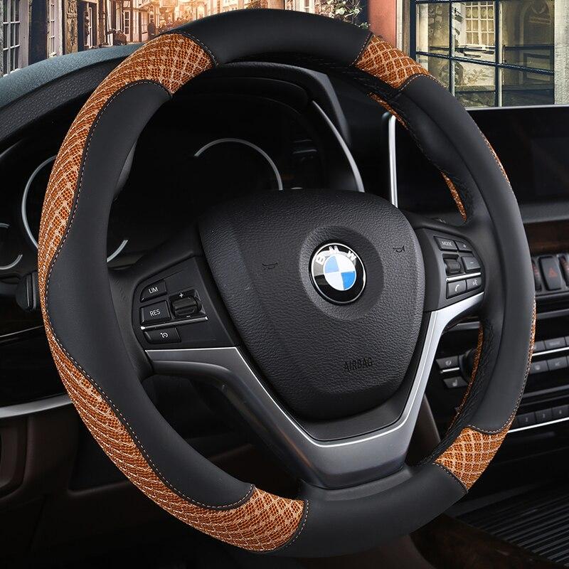 KKYSYELVA 38cm Auto Steering-Wheel Black Universal Car Steering Wheel Cover Leather Steering Covers Car Interior Accessories