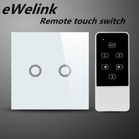 EU UK Standard 2 Gang 1 Way Light Switch Luxury Crystal Glass Remote Control Switch LED