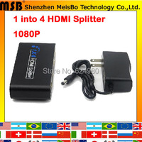TOP Speed 1 to 4 HDMI splitter 1080p 4 ports 1.4v HDMI Hub 1*4 Output HDMI HD Divider for PS3 STB LCD Projector