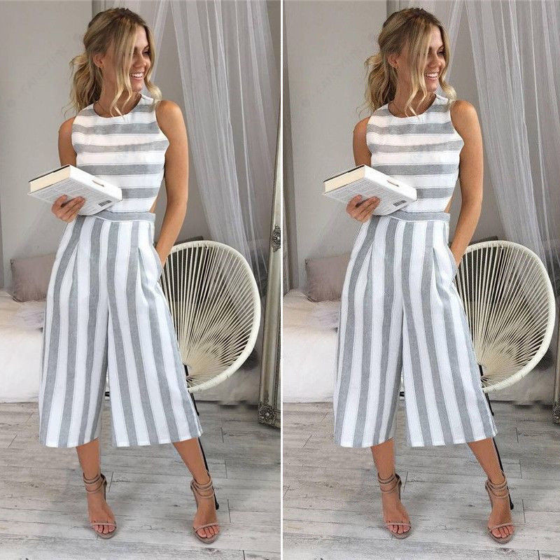 Fashion Summer Beach Women's   Jumpsuits   2019 Sexy Casual Sleeveless Striped Zipper Rompers Female Loose Wide leg pants   Jumpsuits