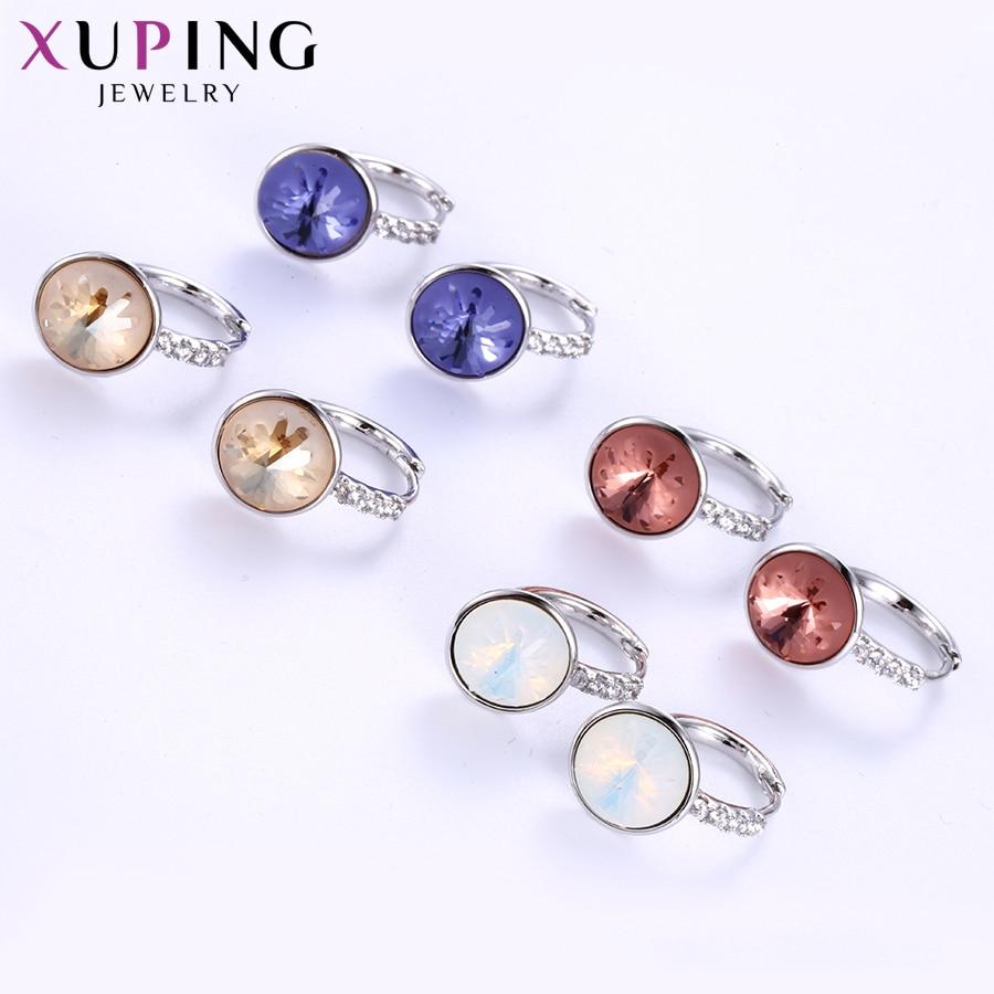 Xuping linda forma redonda aros brincos cristais