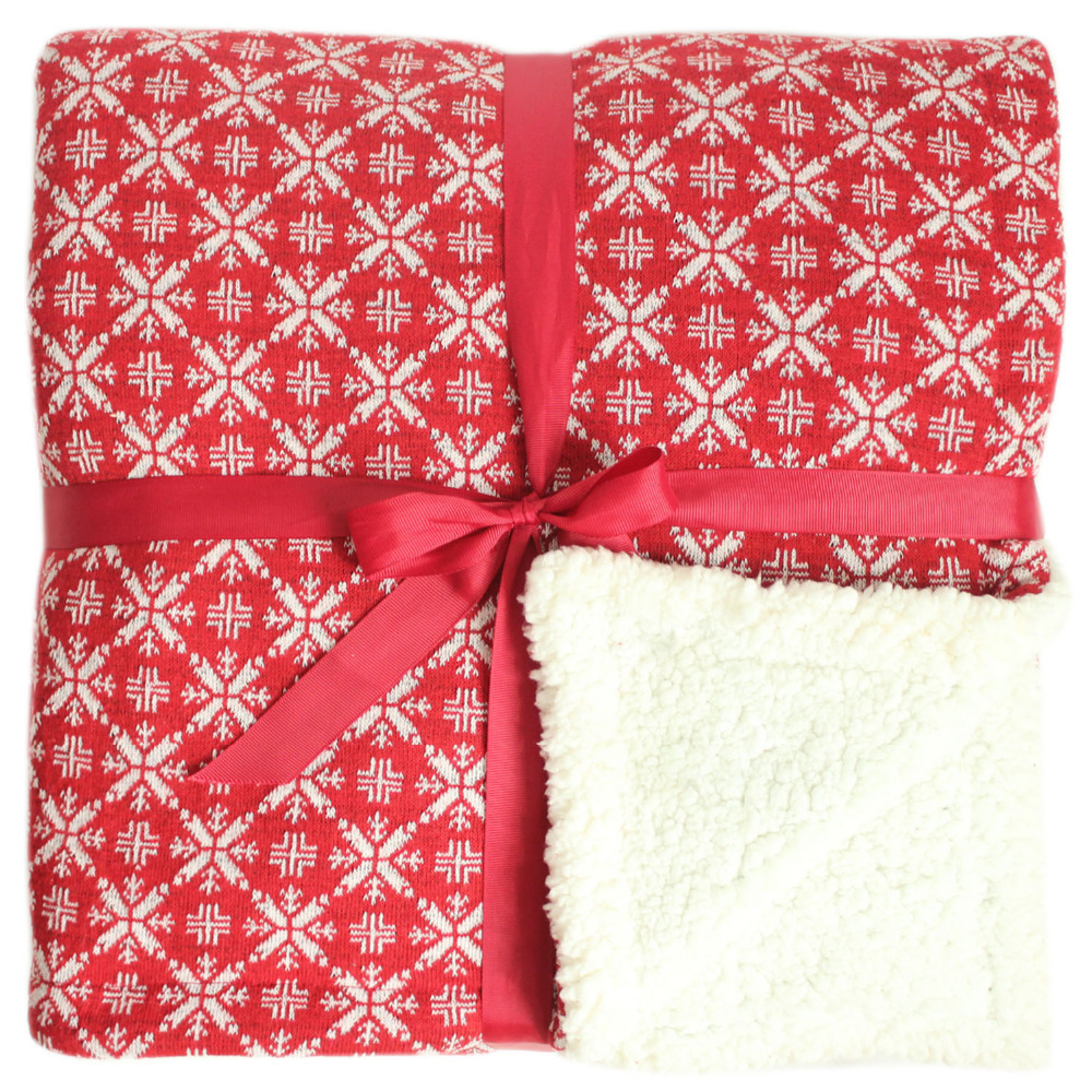 promotion knitting christmas snowflake with sherpa blanket red throw in throw from home garden on aliexpresscom alibaba group