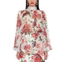 high quality luxury brand women blouse runway shirt long sleeve flowers print chiffon blouse top 2 piece set diamond F117