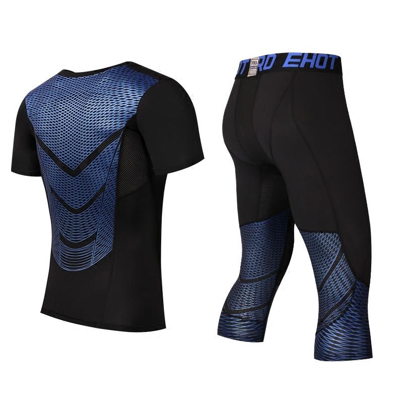 Men Pants Set MMA Long Sleeve T-shirt Men's Compression Shirts Fitness Bodybuilding Clothes MMA Rashguard Running цены онлайн