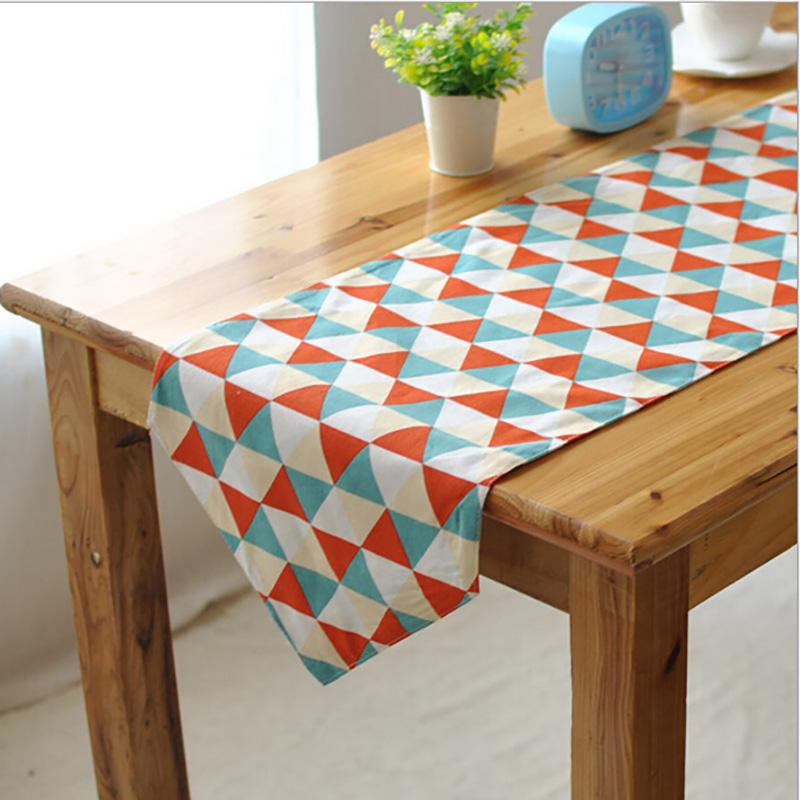2016 mode chemin de table en coton et lin color motif gomtrique table couvre la maison - Chemin De Table Color