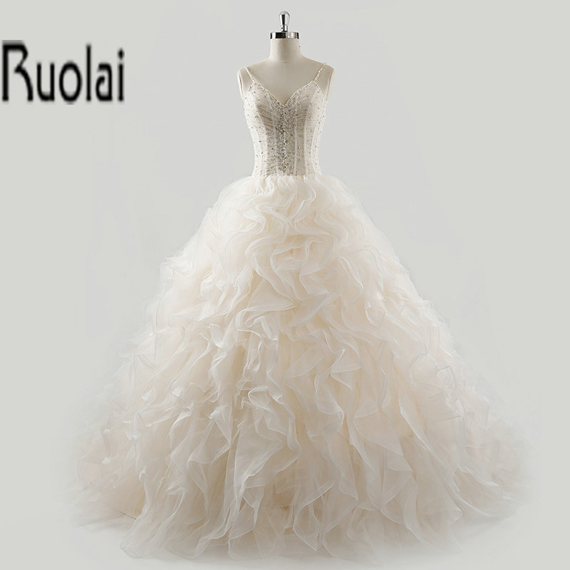 Gorgeous ball gown crystal beading v neck ruffles spaghetti straps formal wedding dresses bridal dress custom