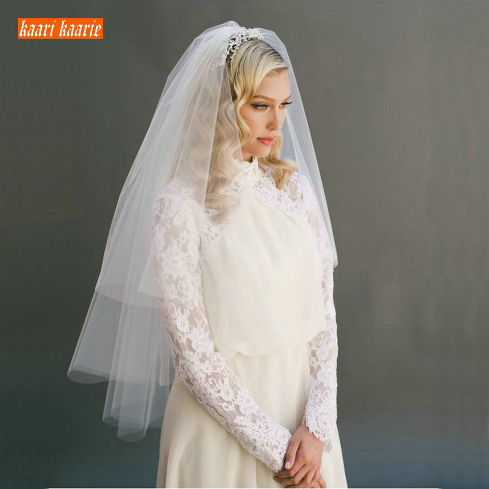 Fashion White Short bridal veil two layer 75cm with combe Ivory veils for wedding party tulle