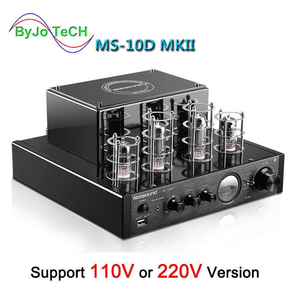 Nobsound MS-10D MKII Tube Amplifier audio Stereo Amplifiers Vaccum amplificador Bluetooth amplifier USB 110V or 220V MS 10D многолучевой прибор sz audio ms mb56