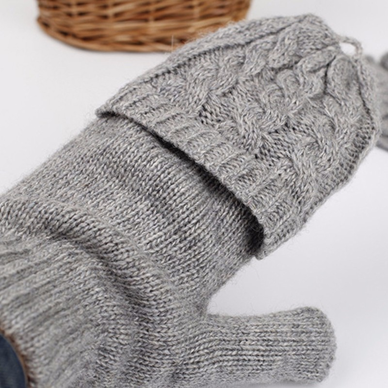 Women woolen solid Winter Soft Fingerless Gloves Mittens Knitted Glove Hand Warmer