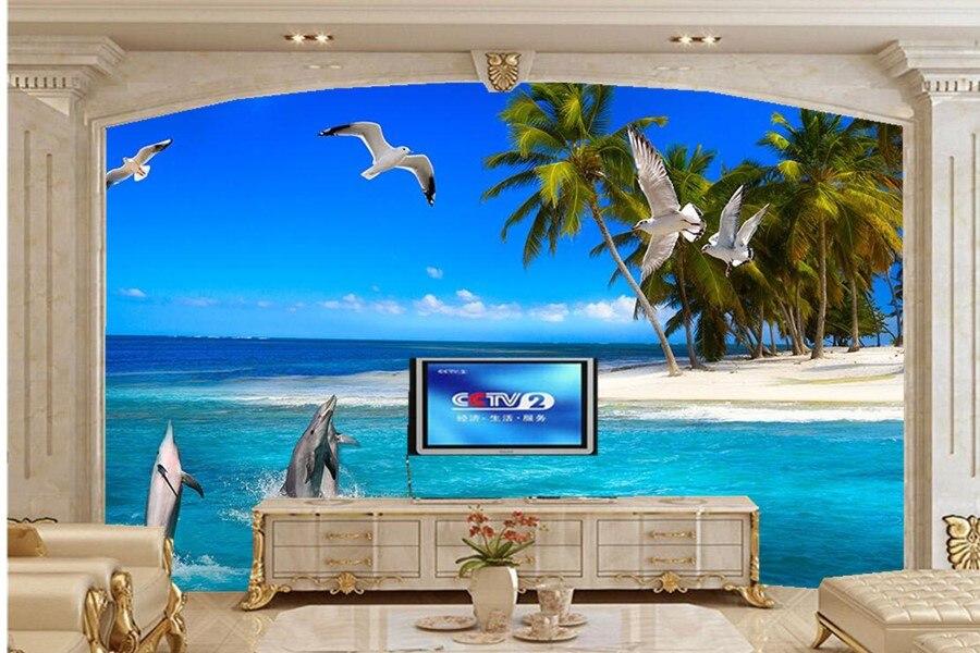 ヾ(^▽^)ノMural de encargo grande. delfín creativo Palma Gaviota 3D ...
