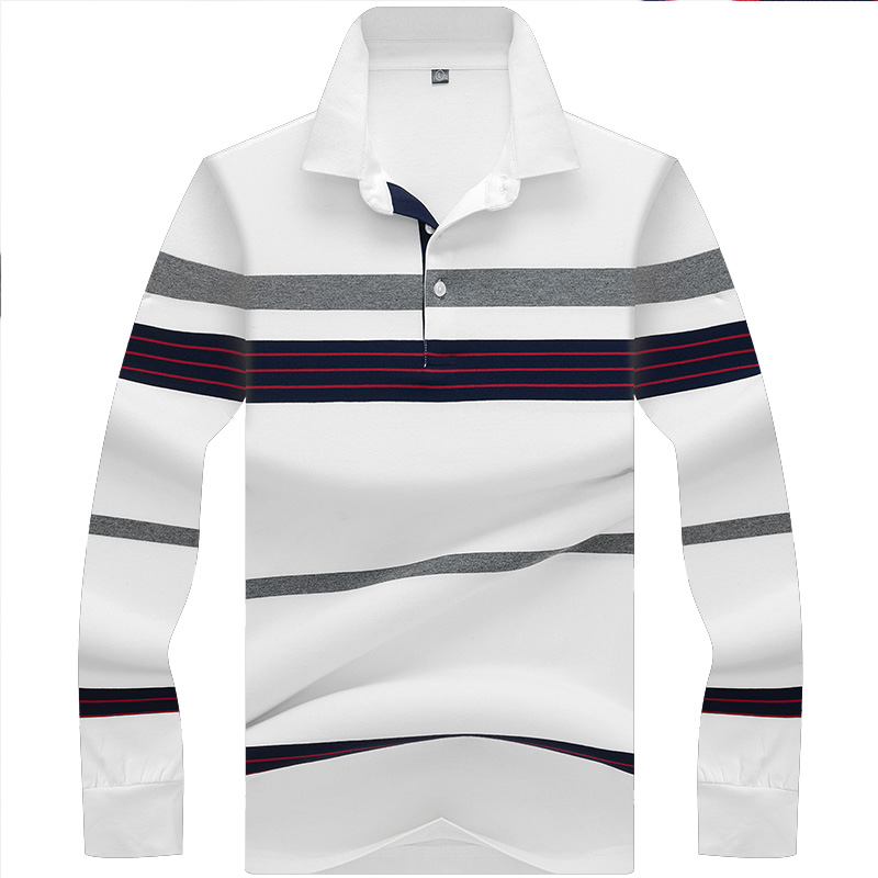 New Turn-down Collar Striped   Polo   Shirt Men 3D Embroidery High Quality Smart Casual Tace & Shark Men   Polo   Shirts
