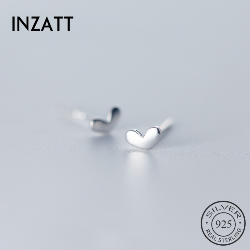 INZATT Real S925 Sterling Silver MInimalist Tiny Heart Cute Stud Earrings For pretty Women Party Fashion Jewelry Size 5.5mm*3mm INZATT Real S925 Sterling Silver MInimalist Tiny Heart Cute Stud Earrings For pretty Women Party Fashion Jewelry Size 5.5mm*3mm