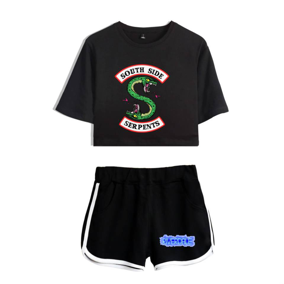 LUCKYFRIDAY 2018 riverdale   t     shirt   Two-Piece Summer Print   T  -  Shirt   Women's Suit Fashion Top + Shorts south side serpents