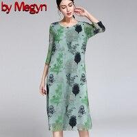 По Megyn 2019 для женщин элегантная женская обувь три четверти рукав вышивка свободное платье 4XL плюс размеры