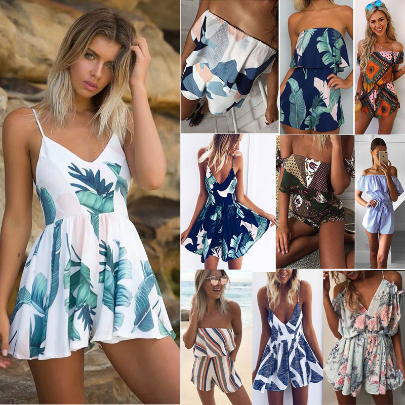 2019 Summer Women Beach Jumpsuit Plus Size Print Romper Sleeveless Off Shoulder Short Overalls Backless Sexy Playsuit For Female