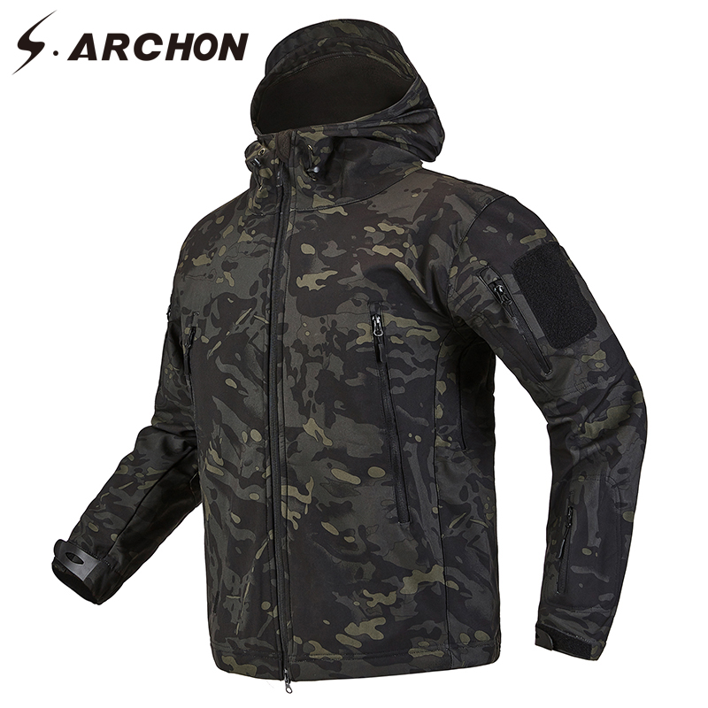 S.ARCHON Shark Skin Soft Shell Tactical Military Jacket Men Fleece Waterproof Army Clothing Multicam Camouflage Windbreakers Men