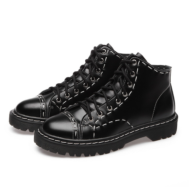 Unisex Genuine Leather Eyelet Martens Womens Boots Cross Tied Ankle Boots Military Punk Vintage Rock