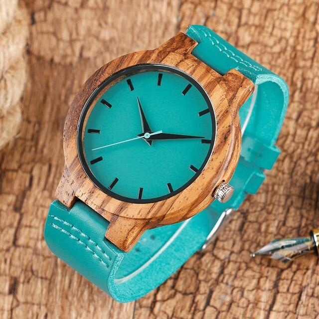 Mode Creative bois montres hommes Nature bambou fait à la main Montre-bracelet bleu Quartz Montre homme sport robe montres Montre en bois 1