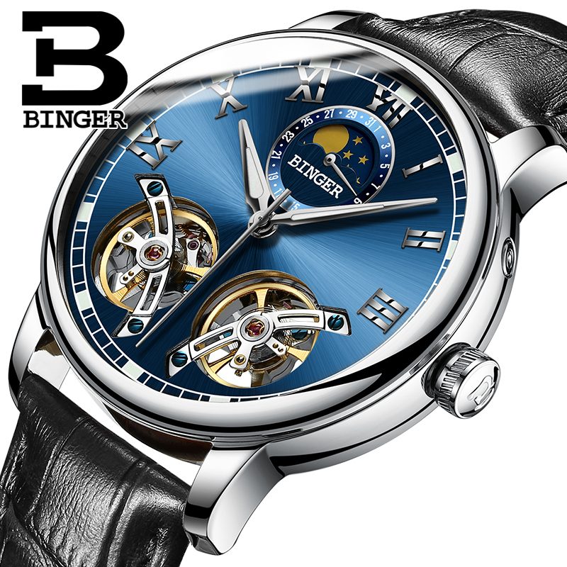 BINGER Mens Moon phases Tourbillon Automatic mechanical Watches Men Top Brand Luxury Dive 30M Business Leather watch Man 2017 2017 watch mens tourbillon automatic mechanical watches moon phases men top brand luxury business full steel clcok relojes