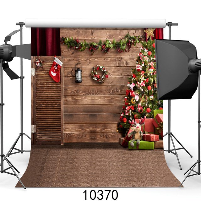 Christmas Tree Photography Background Wood Wall Floor Decoration ...
