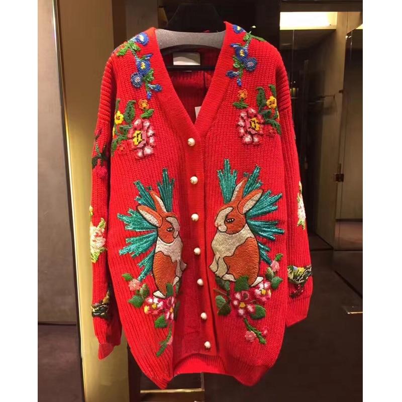 Высокое качество 30% шерстяной свитер для женщин Зимний v образный вырез вышитый кролик Тигр цветы теплый вязаный кардиганы красный