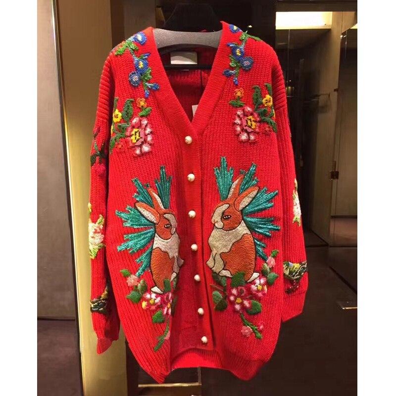 Haute qualité 30% laine pull pour les femmes hiver col en V brodé lapin tigre fleurs chaud tricoté Cardigans rouge
