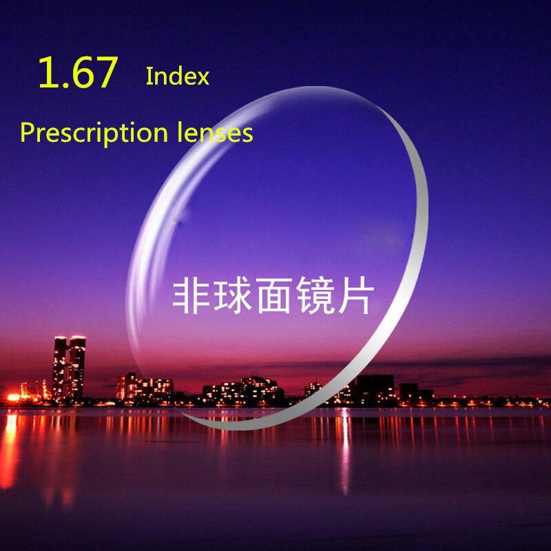 2 Pcs ,Anti-Blue Rays Protection Index 1.67 Clear Lens Optical HMC, EMI Asphere Anti UV Myopia Hyperopia Prescription Lenses