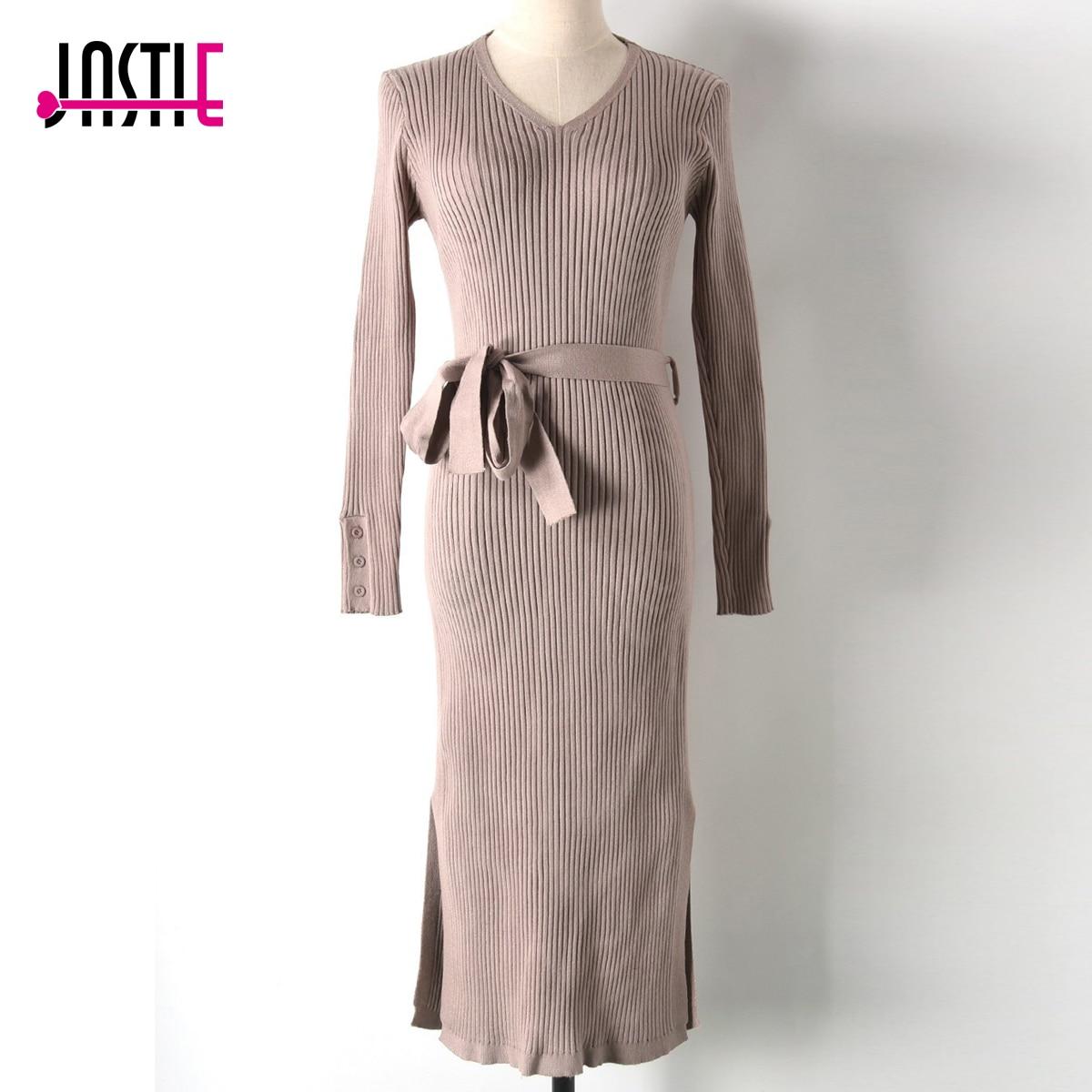Jastie V-Neck Long Knitted Sweater Dress Solid Color Slim Bodycon Dress Long Sleeve High Slit Ribbed Midi Dresses Women Vestidos long sleeve slit knit midi dress with sleeves