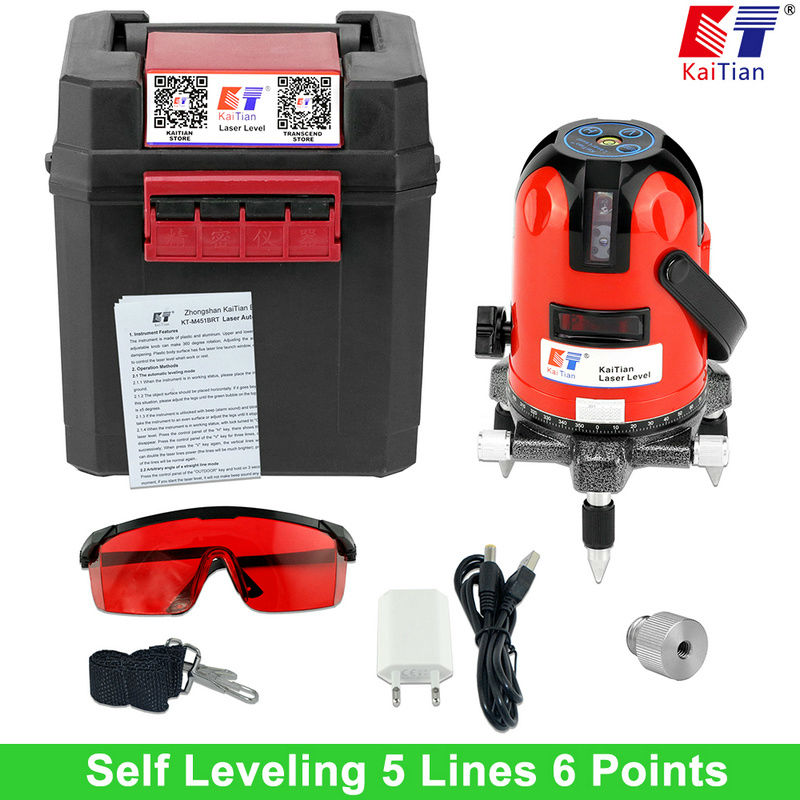 KaiTian Cross Line Laser Level 5 Lines 6 Points Cross Level 1/4and 5/8 Extension Rod with Slash Function Euro Plug Lazer Level laser cast line instrument marking device 5 lines the laser level