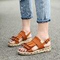 34-43 Estilo Verão Mulheres Sapatos Sandálias 2016 Sandálias Peep-toe Sapatos Baixos Sandálias Romanas Sapatos Mulher Sandalias mujer Sandálias de borla Preta