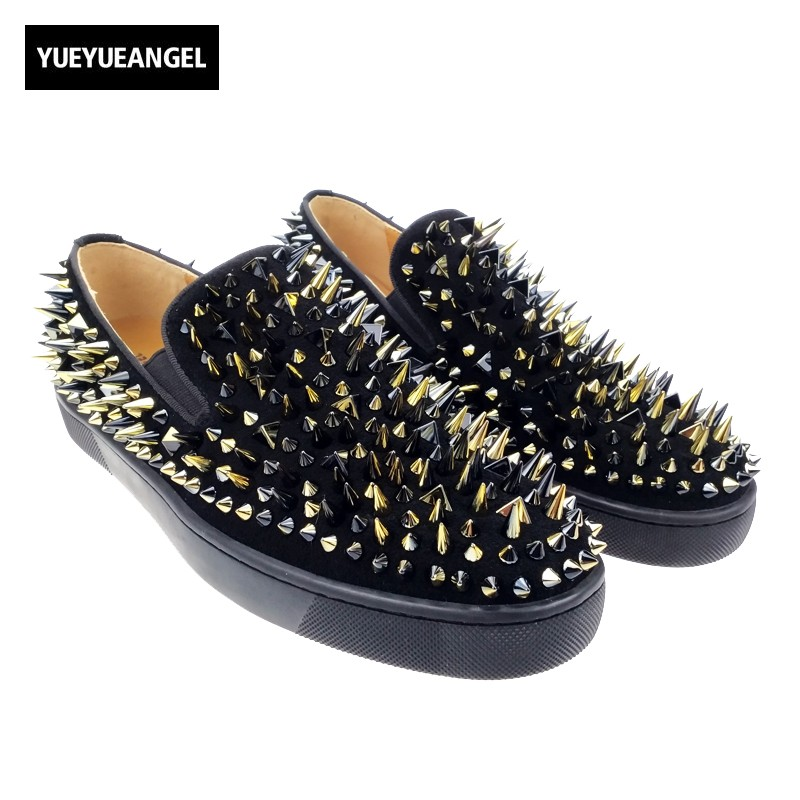 2017 New Handmade Long Gold Rivet Men Red Loafers Gentleman Luxury Fashion Stress Shoes Men Wedding and Party Slip on Flats men loafers paint and rivet design simple eye catching is your good choice in party time wedding and party shoes men flats