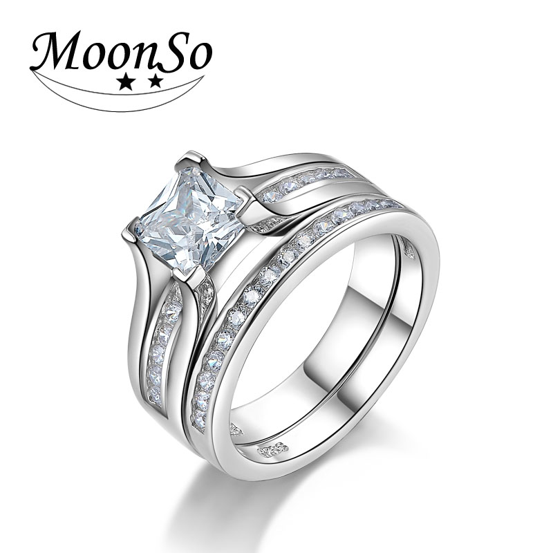 princess cut wedding ring set for women jewelry engagement wholesale