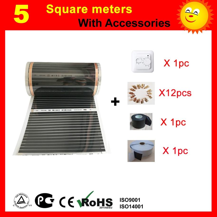 5 metri Quadrati a pavimento elettrico film di Riscaldamento, AC220V riscaldatore a infrarossi 50 cm x 10 m, casa riscaldatore con accessori
