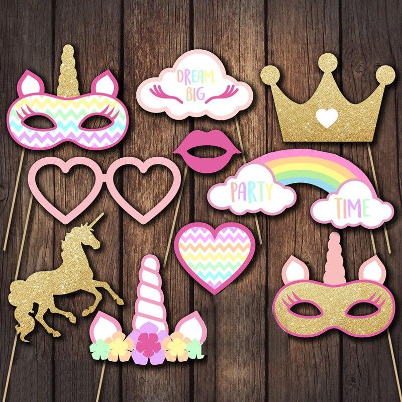 Suministros de fiesta de unicornio decoración de la boda accesorios de cabina de fotos niños Baby Shower Feliz cumpleaños fiesta decoración Photobooth Props, Q