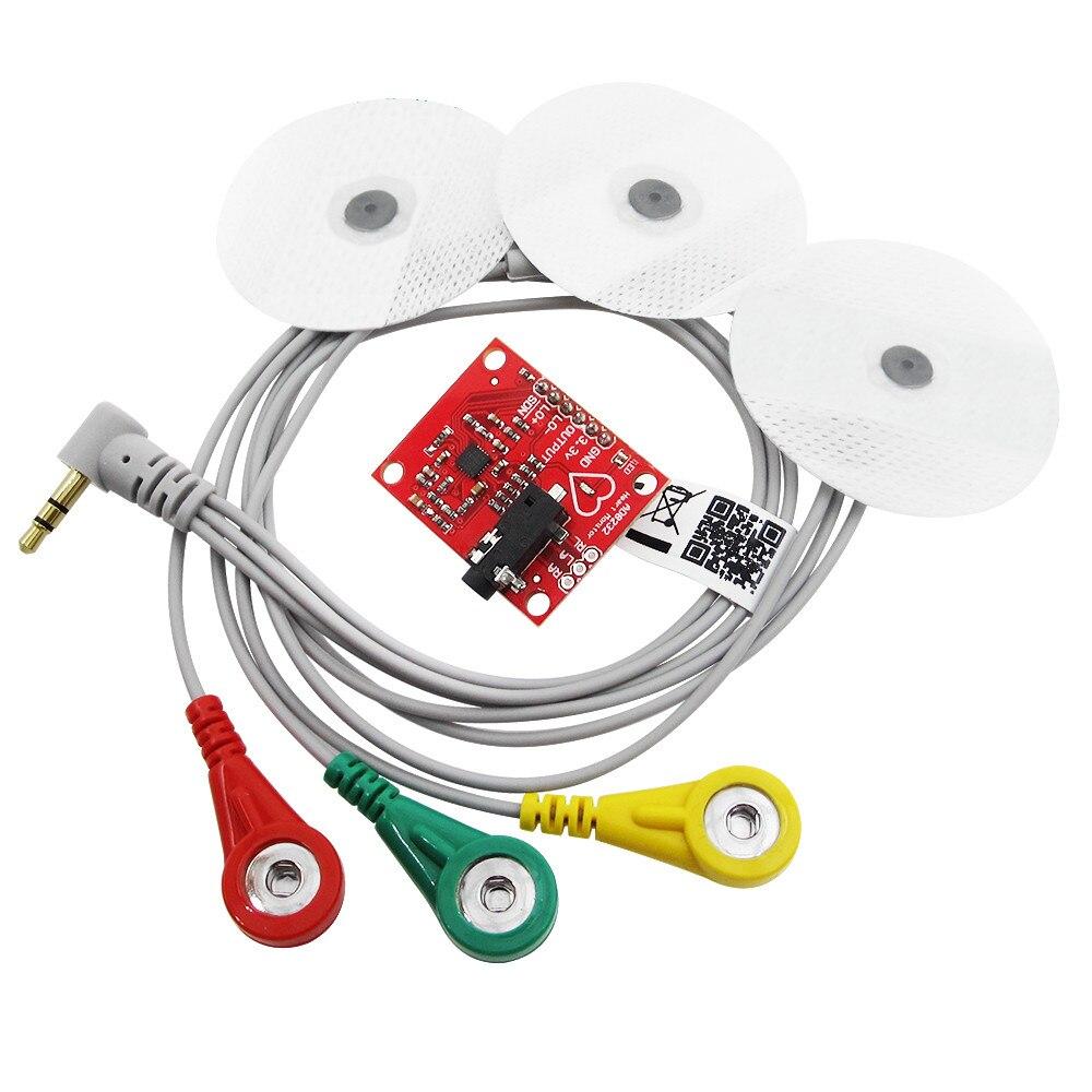где купить Ecg module AD8232 ecg measurement pulse heart ecg monitoring sensor module kit по лучшей цене