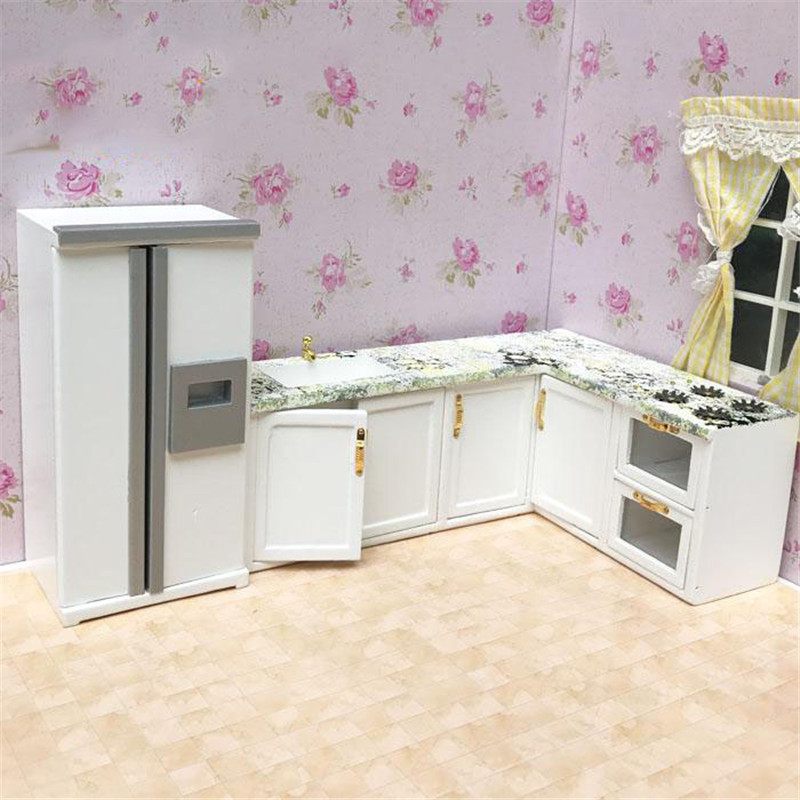 Doub K 1:12 Dollhouse Furniture toy for dolls white Miniature refrigerator stove kitchen sets pretend play toys for girls 1 12 dollhouse miniatures furniture re ment refrigerator hearth integral kitchen lampblack machine