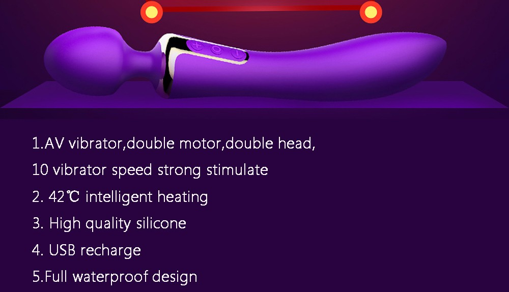 Leten Rechargeable AV Sex Toys Dual Function Intelligent Heating Silicone Body Massage Vibrators For Women Magic Wand Massager 1