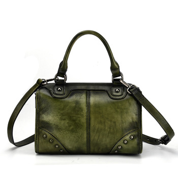woman retro handbags genuine leather bag female shoulder crossbody bags high quality leather totes women messenger bag rivet