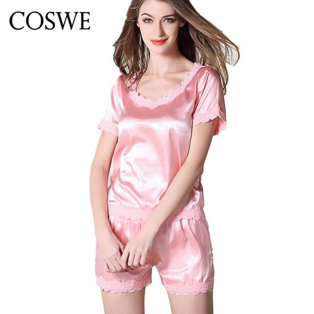 fa23e9a76 Das Mulheres de Cetim de Seda Pijamas Set Para As Mulheres Lésbicas COSWE  Shorts Conjuntos Senhoras
