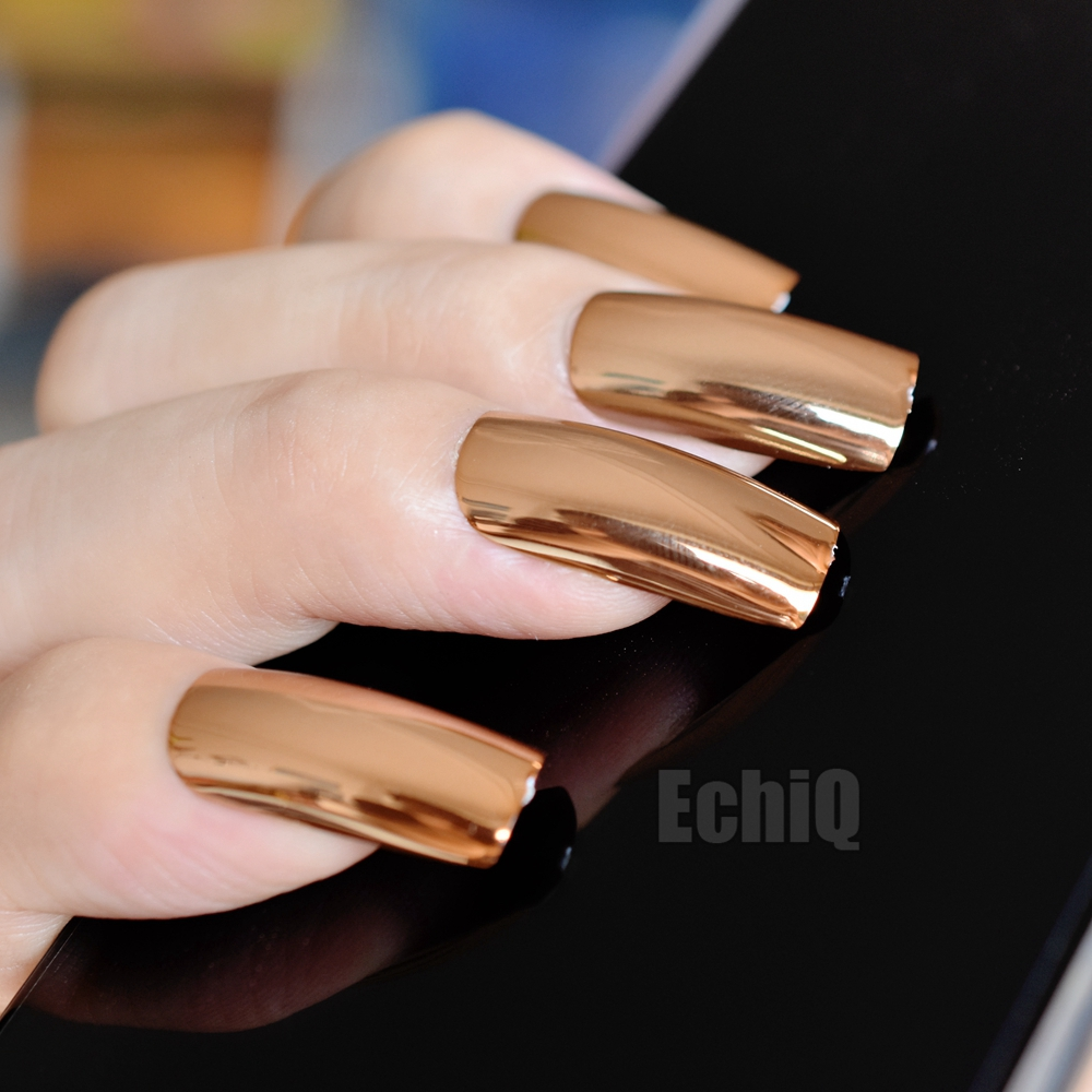 Online Shop Extra Long Press On Nails Glossy Champagne Mirror ...