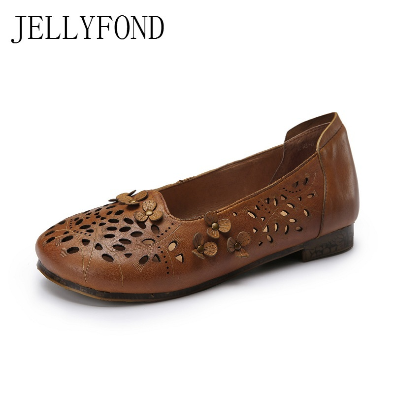 Real Leather Hollow Out Women Flats Handmade Round Toe Vintage Flowers Slip On Soft Loafers Mom Driving Shoes Woman 2017 vintage style real leather women flats brife pointed toe slip on handmade genuine leather designer shoes woman