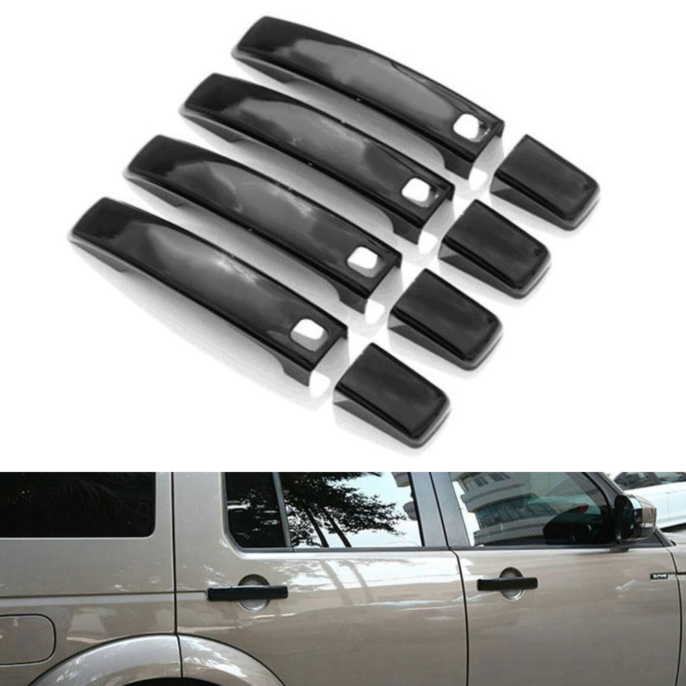 8x Black Car Door Handle Cover Trim Sticker 2010 2011 2012 2013 Fit For Land Rover LR4 Discovery 4 with Smart Keyhole for land rover discovery 4 lr4 accessories abs dark wood grain center console ac outlet cover trim sticker for lhd 2pcs set