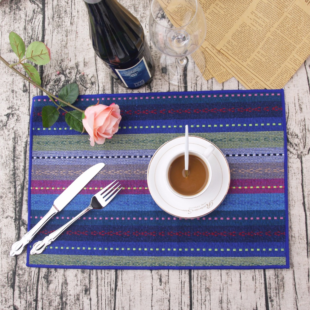 Dining table mats designs - 4pcs Set Cotton Placemat For Table Heat Insulation Dining Table Blue Mat Placemat Braided Ribbed Washable Table Mats Set